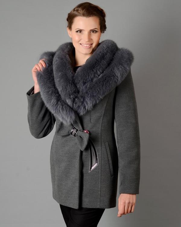 Купить Зимнее пальто бант серое 5050 оптом - ЖЕНСКИЕ ПАЛЬТО ЗИМНИЕ ... 9e81f2a0d0757